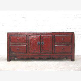 Chine petite poitrine Buffet brun rougeâtre fini antique en bois de pin