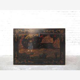 Litière pour chats en Chine style antique peinture en filigrane d'or sur laque noire que par le parc de luxe