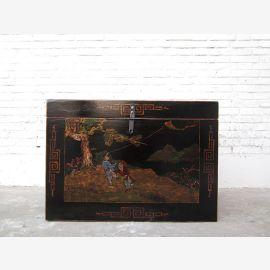 Chine litière amende peinture d'or sur laque noire Paysage seulement par le parc de luxe
