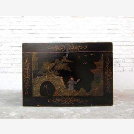 Cat Hygiène dans la Chine ancienne de style beaux dessins d'or sur laque noire seulement par le parc de luxe