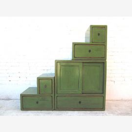 Asie étapes commode armoire pin vert antique