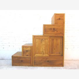 Chine Escaliers commode armoire style campagnard de bois naturel pin