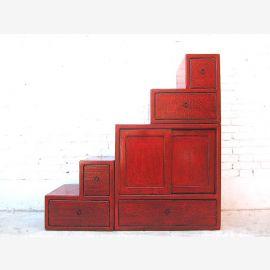 Asie armoire commode escalier brun rougeâtre fini antique en bois massif