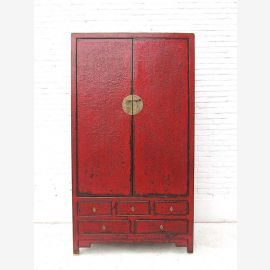 Asie grand brun-rouge doubles tiroirs du cabinet de ferrure de porte en laiton