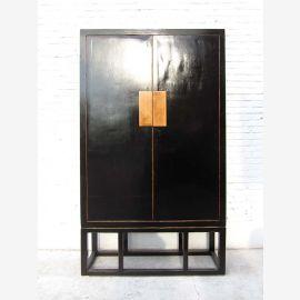 Chine grand placard noir Anti clac bronze doré en pin massif