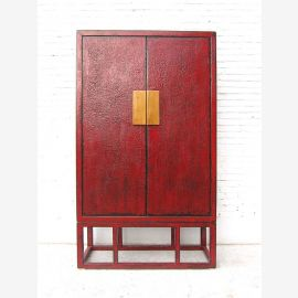 Asie grand brun-rouge portes battantes Armoire montage Pine laiton