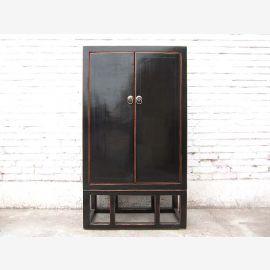 commode Asie classique des doubles portes laque antique bois dur noir