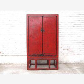Chine commode look classique marron antique en bois massif
