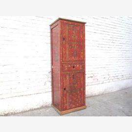 Asie Tibet haute commode tour en bois peint traditionnel