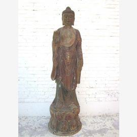 Buddha stehend China Lebensgrosse Skulptur Pappelholz 70 Jahre alt von Luxury Park