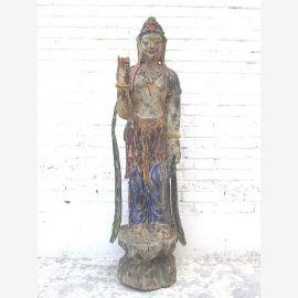 Guanyin debout grande sculpture peuplier Chine 60 ans du parc de luxe