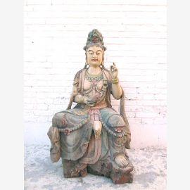 Guanyin assis grandeur nature sculpture peuplier peint en 1930 par la Chine Luxe Parc