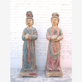 Femmes couple Chiffres grandes sculptures finement peints Chine peuplier 1930 par le parc de luxe