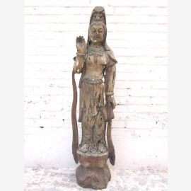Guanyin en filigrane debout statue sculpture peuplier Chine 1910 par le parc de luxe