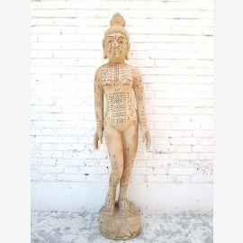 CHINE 1930 Medicine Woman formation d'acupuncture grand modèle d'enseignement du bois de corps du Parc de luxe