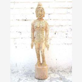CHINE 1920 médicale Acupuncture Formation petite sculpture du bois de corps de la femme du Parc de luxe