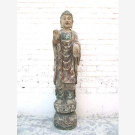 Chine Bouddha debout grande sculpture en bois peint de peuplier de 60 ans du parc de luxe