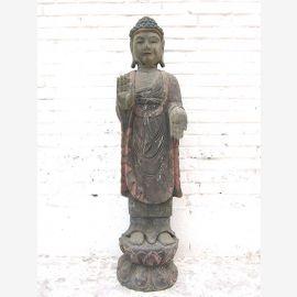 Bouddha debout sculpture antique sur la statue de base sculpté Chine peuplier 1930 par le parc de luxe
