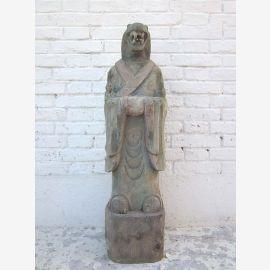 Sculpture serpent Chine chiffre astrologique bouddhiste peint peuplier 100 ans de Parc de luxe