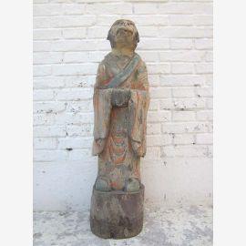 Sculpture singe zodiaque astrologie chinoise 1920 peuplier peint ici au parc de luxe