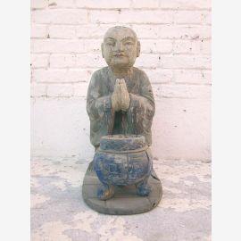 Chine moine sculpture autel bouddhiste figure avec piscine bâton de fumer peuplier sur 100 ans par voiture de luxe