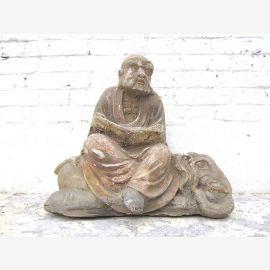 Skulptur der Reiche sitzend auf Elefant Figur Pappelholz rund 100 Jahre alt von Luxury Park