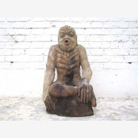 Chine en 1920 Figure Le jeûne méditation bouddhiste sculpture de peuplier Luxe Parc