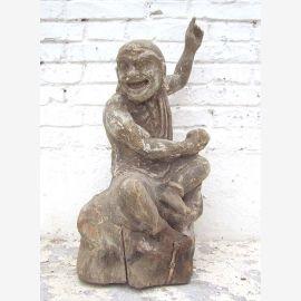 """Sculpture """"La Plaisanterie"""" figurine de peuplier chinois en bois d'environ 70 ans du parc de luxe"""