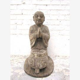 Chine 1910 sculpture moine priant autel bouddhiste figure avec Räucherstabschale bois de peuplier du parc de luxe