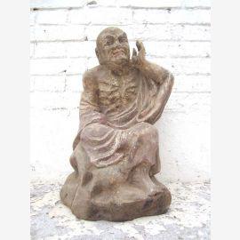 Sculpture de moine de la fin de l'écoute figurine peuplier bouddhiste environ 90 ans du parc de luxe