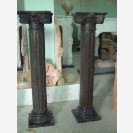 Petite table ancienne piédestal de colonne classique brun décor de marbre
