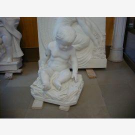 Petite fontaine nymphe comme support colorée rococo en marbre