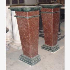 Petite colonne carrée marron en marbre de forme et noir Art Déco