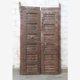 Porte pleine Inde antique en teck VI-ED-028