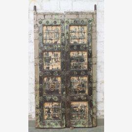 Porte pleine Inde antique Teck VI-ED-030