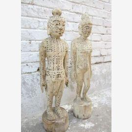 Chine deux chiffres en bois homme femme médecine à l'acupuncture formation
