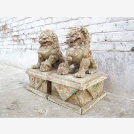 1900 fer couples de lion Lion sculpture de la Chine sur socle en bois