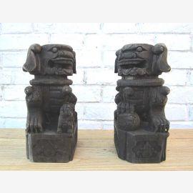Chine deux sculptures gravées de figures animales par 200 anciens originaux an de bois de peuplier