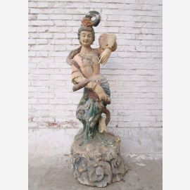 Chine 1940 danseur déesse magnifique sculpture en bois peint antique